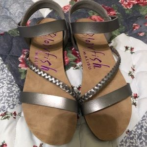 Blowfish brand pewter sandals.